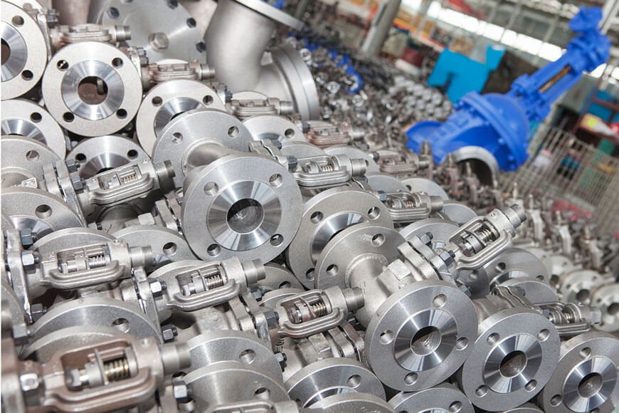 Valve bodies produced from lost-wax molds in an investment casting foundry