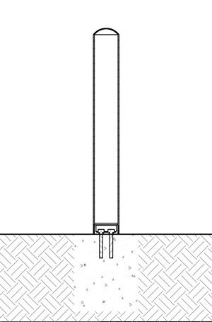 Diagram of R-7180 and R-7181 bollards with threaded mounts