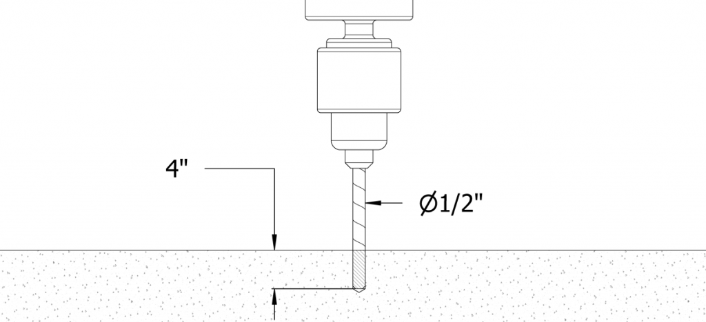 Diagram showing a hole being drilled with a 1/2 diameter and 4 inch depth