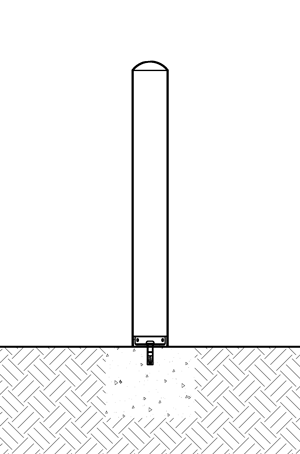Diagram of R-7182 and R-7183 bollards with mounting collars