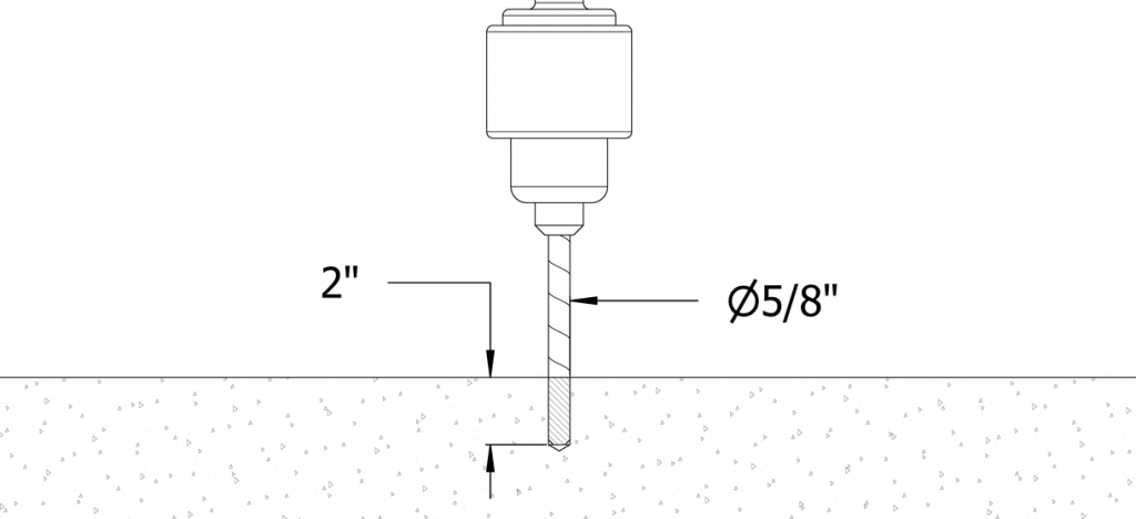 Diagram of a hole being drilled with a 5/8 inch diameter and 2 inch depth