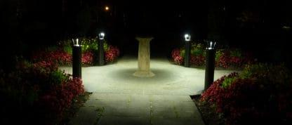 AC lighted bollards on path