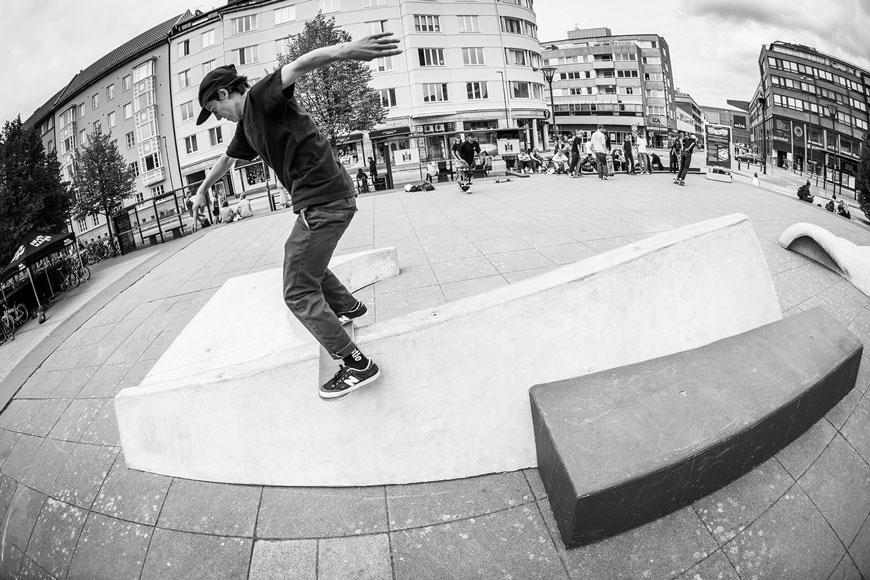 Alexis Sablone boardslides her skateable sculpture in Malmo Sweden