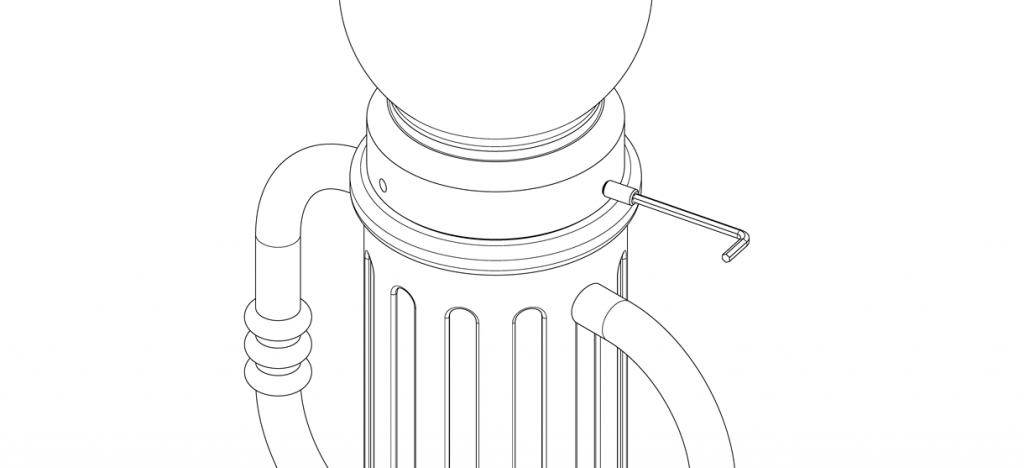 Diagram showing cap on top of bike bollard