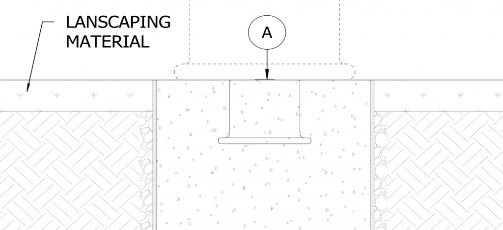 Diagram showing landscaping material around concrete form