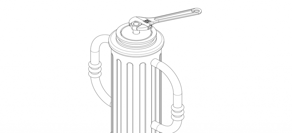 """Diagram showing 1"""" nut applied on threaded rod and tightened with wrench"""