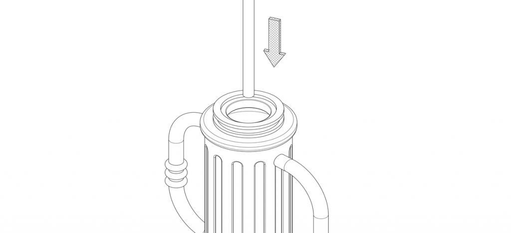 Diagram showing threaded rod in bike bollard base