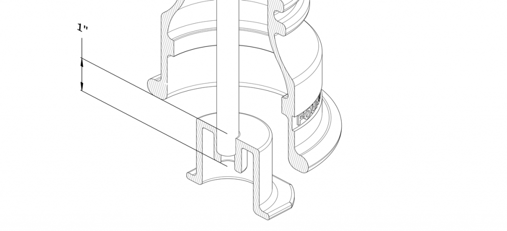 Diagram showing the threaded rod in anchor casting