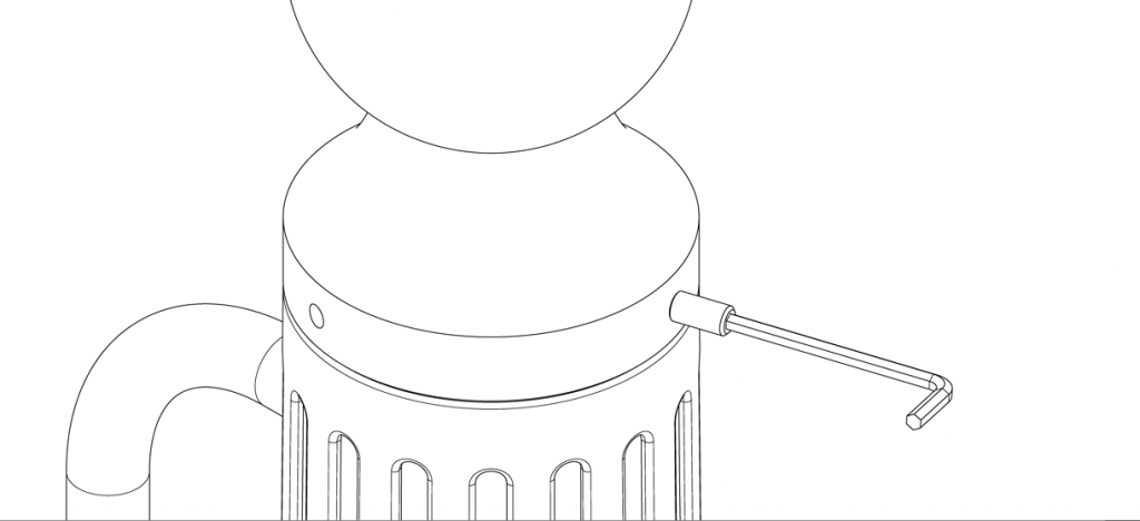 Diagram showing cap placed on top of bike bollard