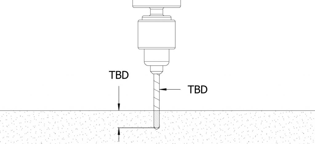 Diagram showing drilling of concrete
