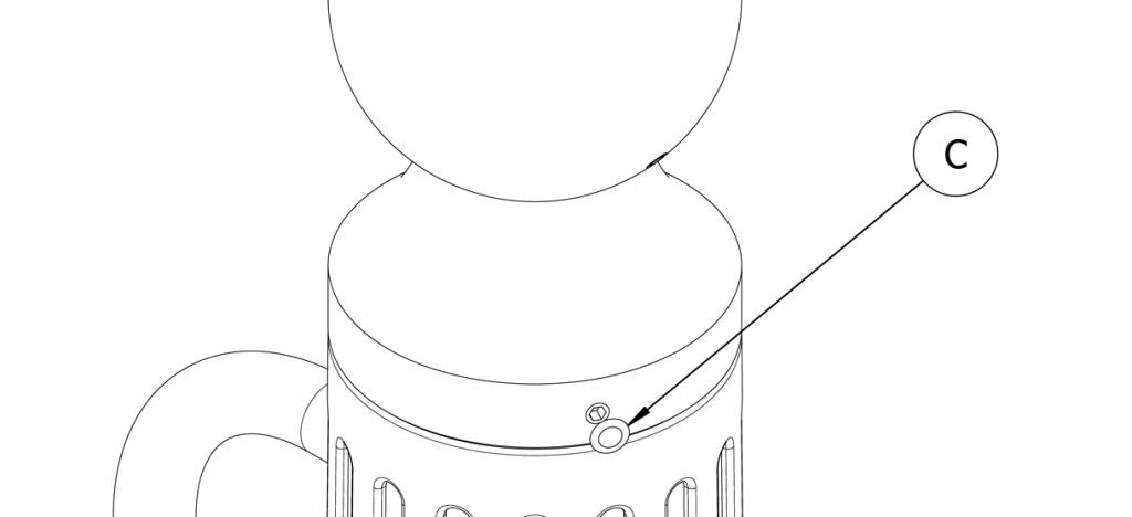 Diagram showing plastic plug over screw head