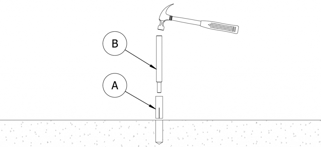 Diagram showing setting tool and drop-in insert