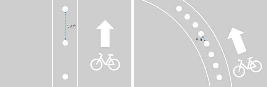 Flexible bollard lane delineators marking bike lanes