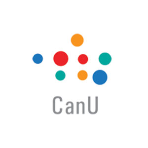 Colorful dots like different sized cities on a map make up the CanU logo