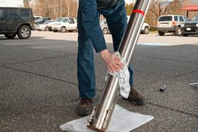 Cleaning stainless steel bollard