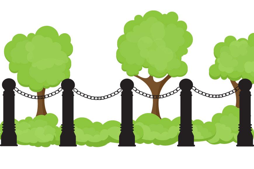 Decorative bollards with chains around garden