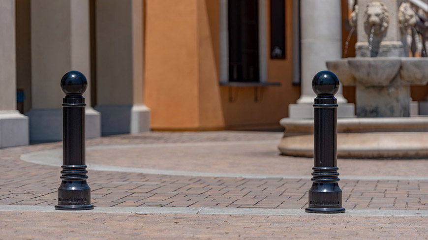 Cast iron bollards in front of building
