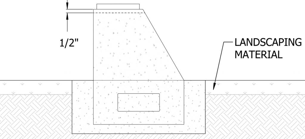 Diagram showing bollard embedded in concrete