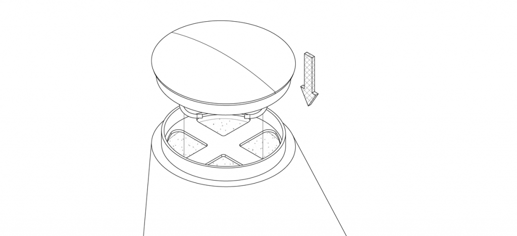 Diagram showing cap fitted onto bollard