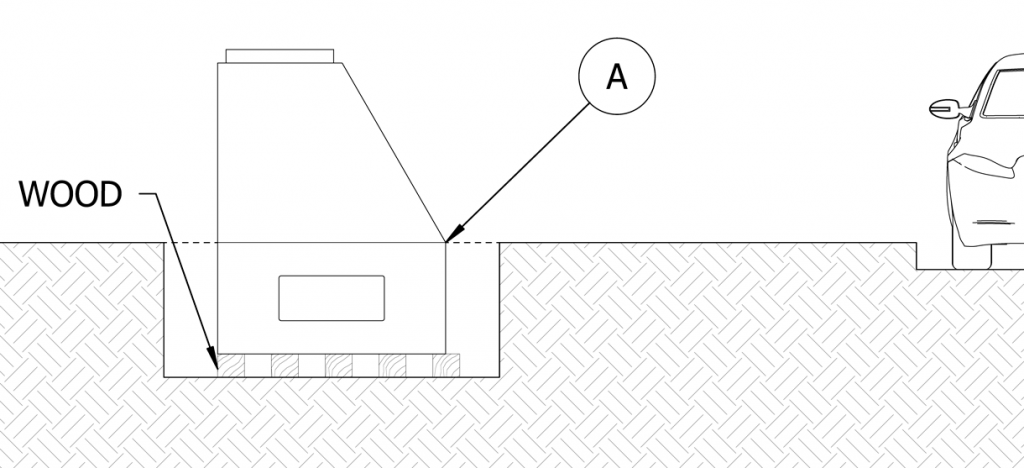 Diagram showing bollard lowered into site