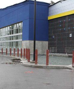 R-1007-10 steel pipe security bollards protecting building perimeter