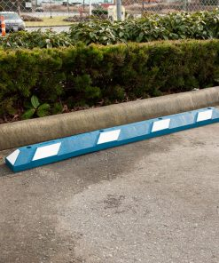 R-2006 white and blue rubber parking stop