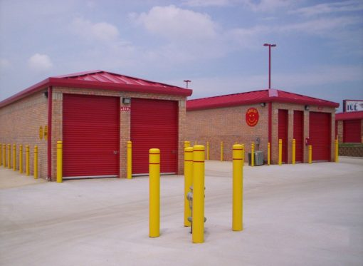 R-7109 plastic bollard covers in outdoor lot