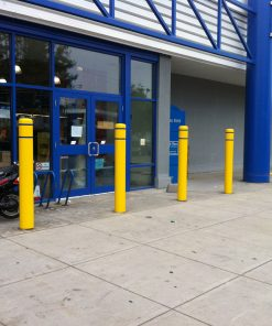 R-7120 plastic bollard covers in front of building entrance
