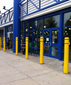 R-7120 plastic bollard covers protect building entrance
