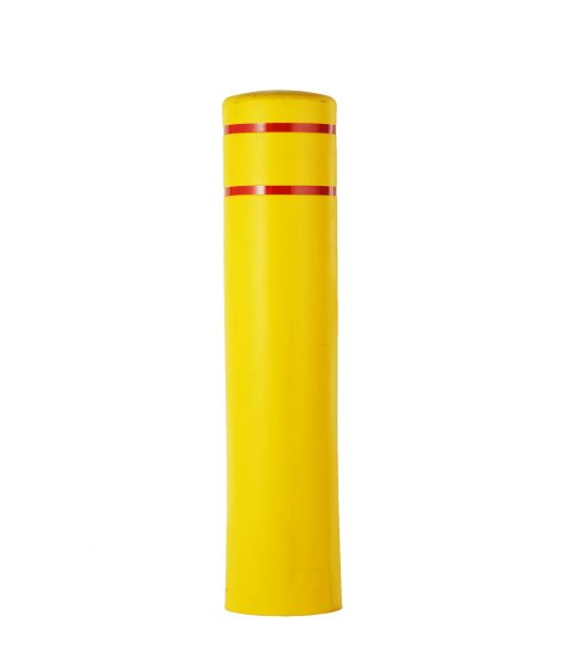 Yellow R-7155 plastic bollard cover with red reflective strips