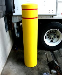 R-7155 plastic bollard cover with red reflective strips