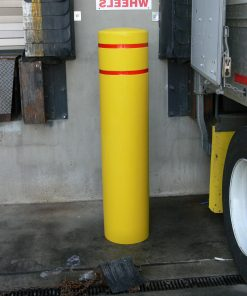 Yellow R-7155 plastic bollard cover with red reflective strip