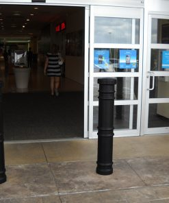 R-7171 decorative plastic bollard covers in front of automatic doors