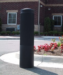 R-7176 decorative plastic bollard cover on road in front of flowers