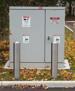 R-7301 stainless steel bollard covers protecting utility box