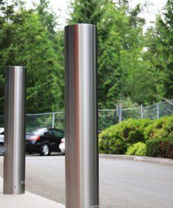 R-7303-EX stainless steel bollard covers on street