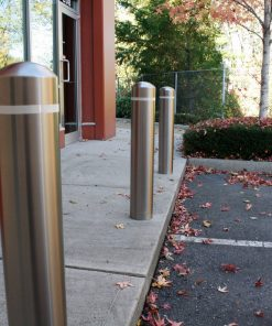 R-7305-EX stainless steel bollard covers with white reflector strips