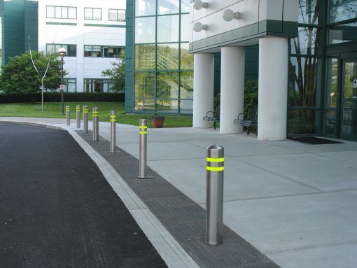 R-7305-EX stainless steel bollard covers with yellow reflective strips