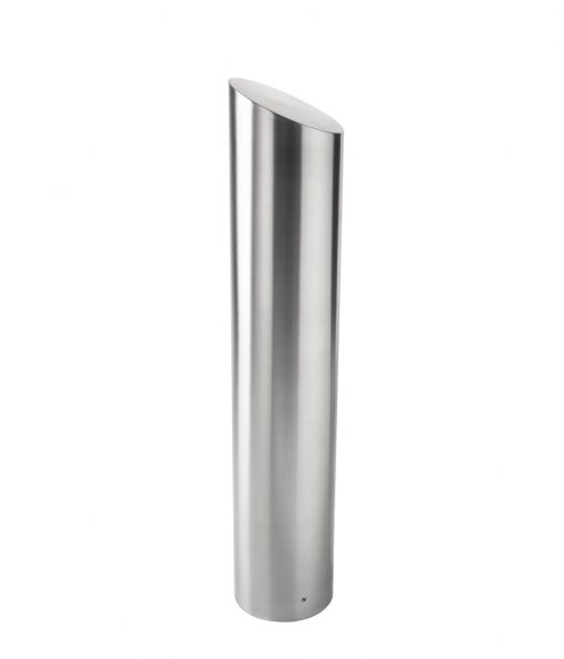 R-7306 stainless steel bollard cover with slant-top design