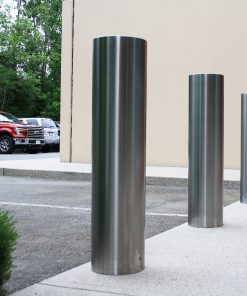 R-7307-EX stainless steel bollard covers in parking lot
