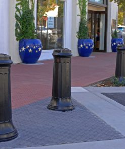 R-7520 decorative bollards protecting sidewalk and storefront