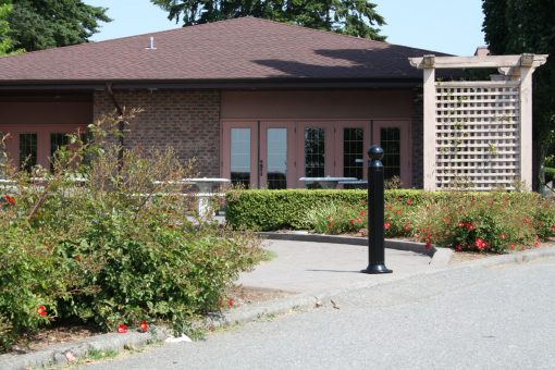 R-7530-AL decorative bollard in front of house