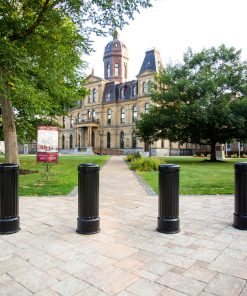 R-7535 decorative bollards at the entrance of large building