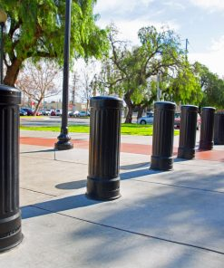Row of R-7535 decorative bollards in sunny environment