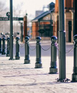 R-7539 decorative bollards with chains along street