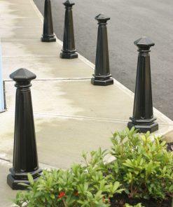 R-7542 decorative bollards protect street corner