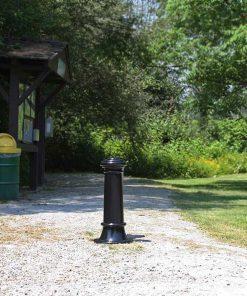 R-7563 decorative bollards guarding entrance to park