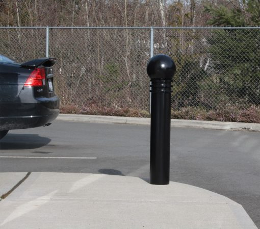 Black R-7575 decorative bollard on street corner