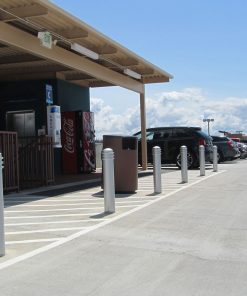 Silver R-7576 decorative bollards in outdoor parking lot