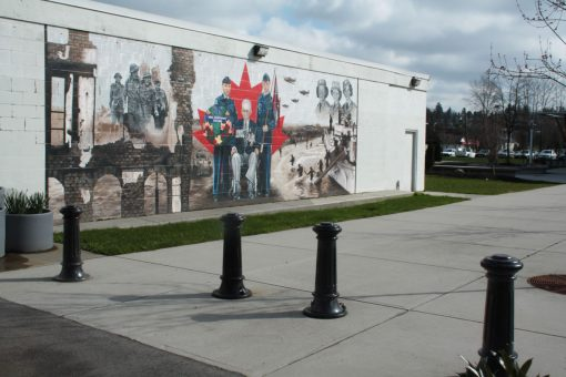 R-7581 decorative bollards in front of mural